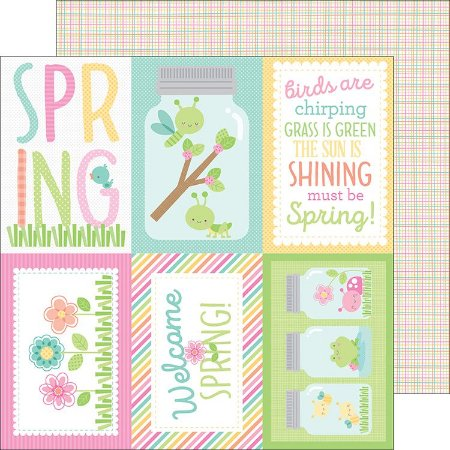 Papel de scrapbook  30x30 - Spring Things - Butterfly Net Doodlebug