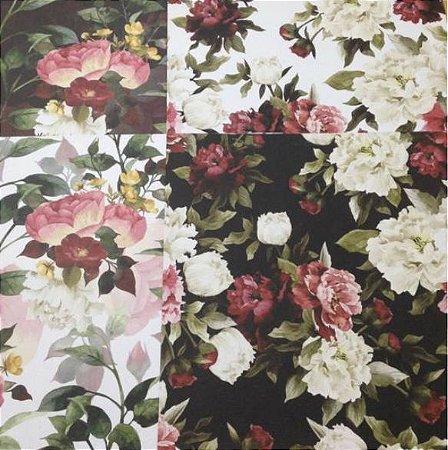 Kit 4 Papéis de scrapbook 30x30 Floral - Arte Fácil