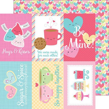 Papel de scrapbook 30x30 - Cream & Sugar - Falling in Love Doodlebug