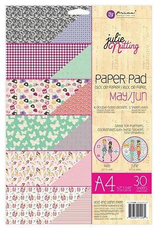Bloco de papéis scrapbook A4 - May/Jun -  Julie Nutting - Prima