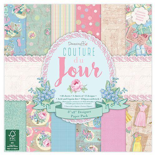 Bloco de papéis 20x20 Couture du Jour - Dovecraft