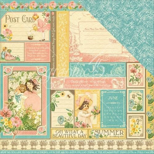 Papel Scrapbook 30x30 Dupla Face - June Collective - Children's Hour  - Graphic 45