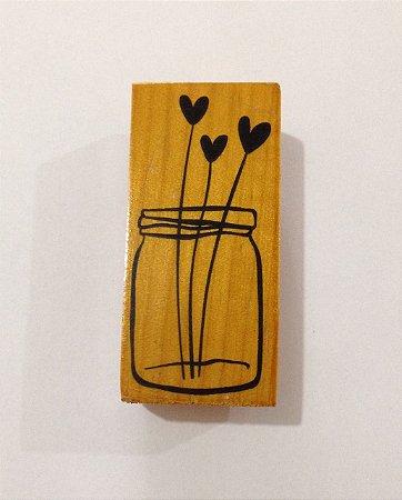 Carimbo de madeira Vaso com flores - Arte Fácil