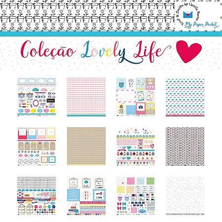 Kit 6 Papéis de scrapbook coleção Lovely Life - My Paper Pocket - Camila Barros