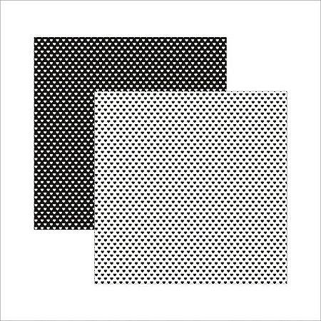 Papel para scrapbook - 30x30 - Preto FB Coração - TEC
