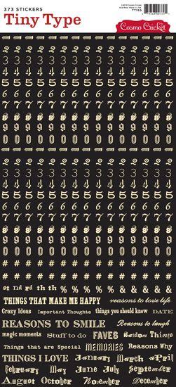 Adesivos Alfabeto mini - Palavras e números bege fundo preto - Cosmo Cricket