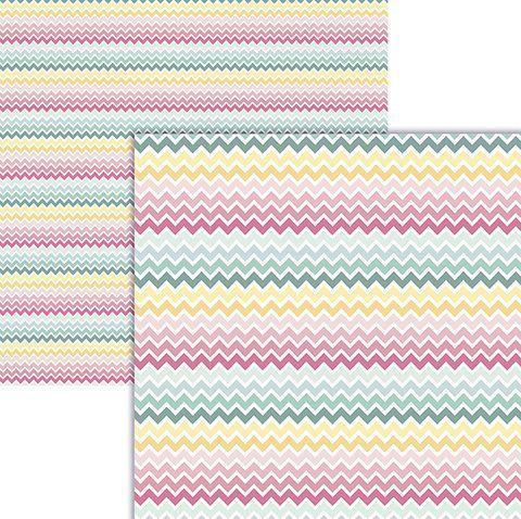 Papel scrapbook Zig Zag Colorido - Ok Scrapbook