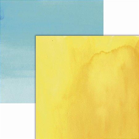Papel scrapbook Amarelo e Azul Aquarela - Ok Scrapbook