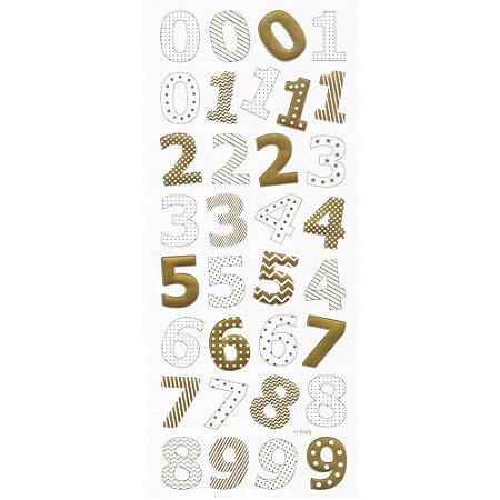 Adesivos Foil dourado Números - Toke e Crie