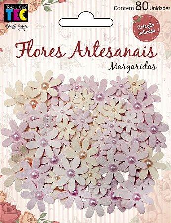 Flores artesanais Margaridas - Rosa - Coleção Delicada - Toke e Crie