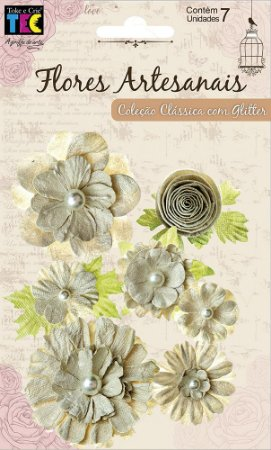 Flores artesanais sortidas - Coleção Clássica - Nude - Toke e Crie