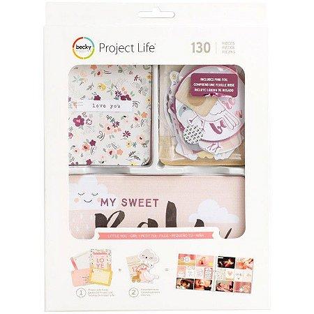 Kit de cards e die cuts com foil Little you Girls - Bebê Menina 130 peças - Project Life