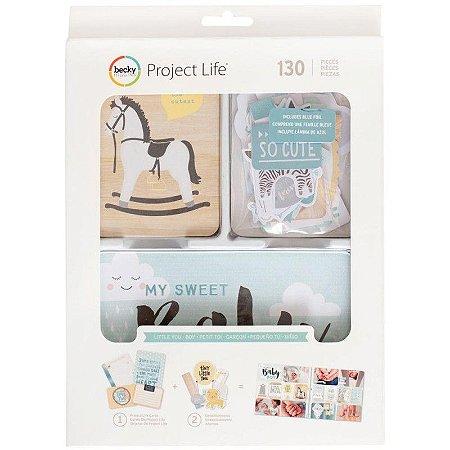 Kit de cards e die cuts com foil Little you Boys - Bebê Menino 130 peças - Project Life