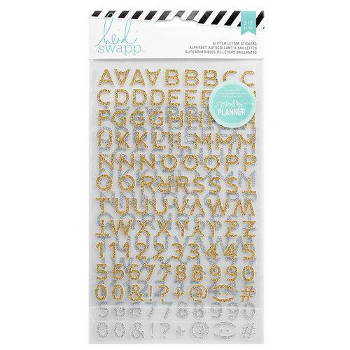 Adesivos alfabeto glitter dourado e prata - 212 peças - Heidi Swapp