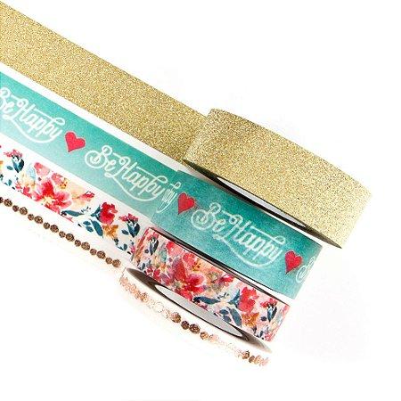 Kit com 4 Fitas adesivas decorativas (Washi tape) Be Happy - Prima