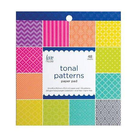 Bloco de papéis 15x15 Tonal Patterns - Love Nicole