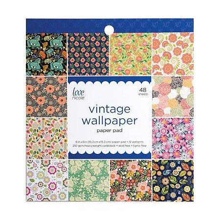 Bloco de papéis 15x15 Vintage Wallpaper - Floral - Love Nicole