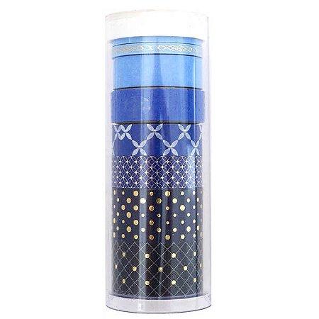 Kit de washi tape com 8 fitas - Tons azul com foil dourado - Little B