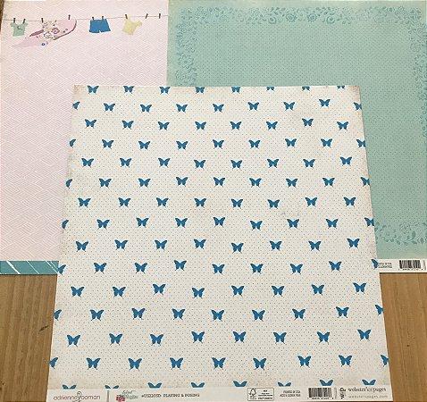 Kit com 03 papeis de scrapbook 30x30 - dupla face - Sweet Routine - Webter's