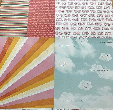Kit com 05 papeis de scrapbook 30x30 - dupla face - Coloridos - Studio Calico