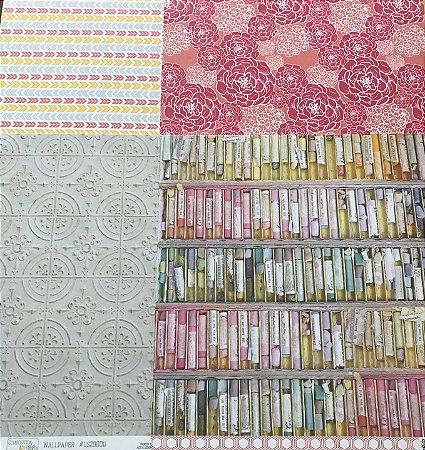 Kit com 04 papeis de scrapbook 30x30 dupla face - Composition Color - Webter's