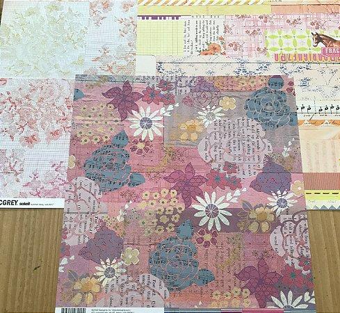 Kit com 03 papeis de scrapbook 30x30 - dupla face - Floral - Basic Grey