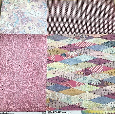 Kit com 04 papeis de scrapbook 30x30 - dupla face - Soleil - Basic Grey