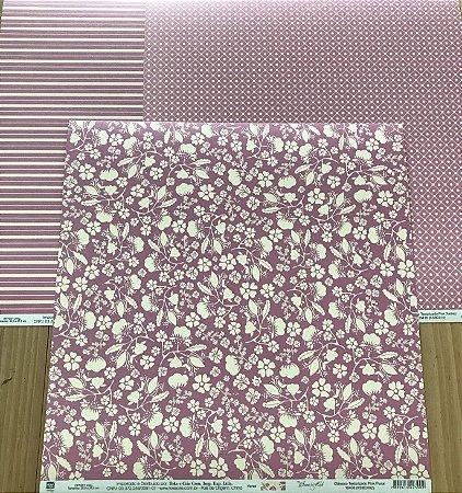Kit com 03 papeis de scrapbook  30x30 - dupla face - Clássico - TEC