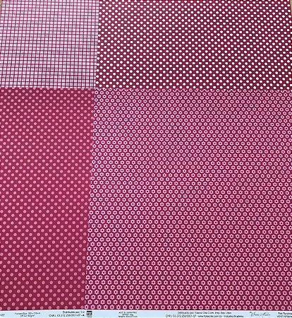 Kit com 04 papeis de scrapbook 30x30 - dupla face -Pink -  TEC