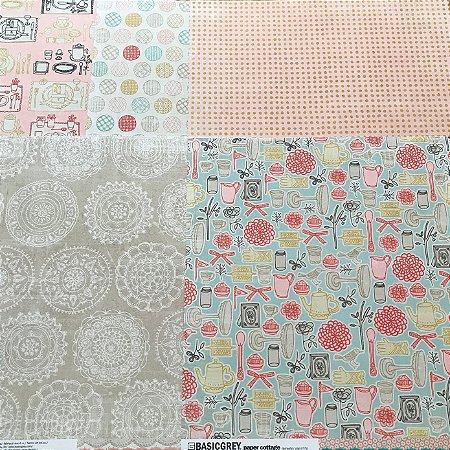 Kit com 05 papeis de scrapbook 30x30 - Dupla Face - Paper Cottage - Basic Grey