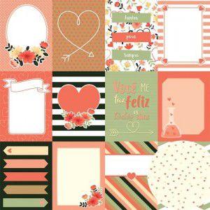 Papel para scrapbook - 30x30 - Dupla Face - Para Sempre - Cards - Oficina do Papel