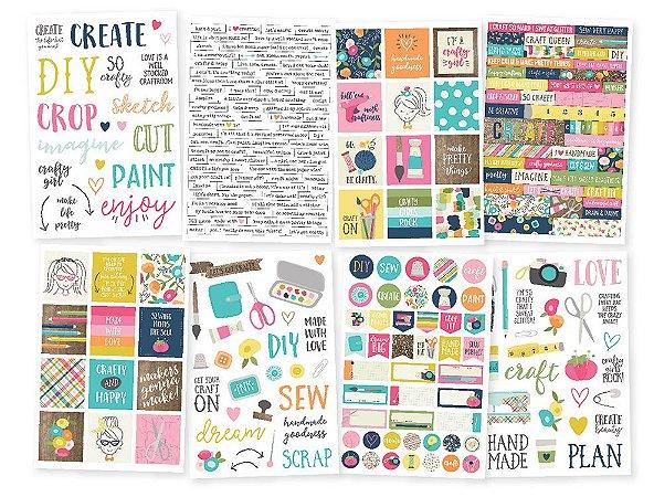 Adesivos com 8 cartelas Crafty Girl -  Simple Stories
