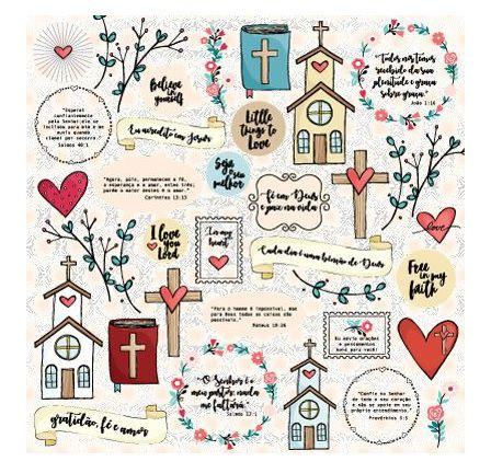 Papel de scrapbook Bençãos - Gratidão, Fé e Deus - Goodies