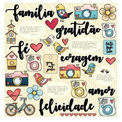 Papel de scrapbook Felicidade - Gratidão, Fé e Deus - Goodies