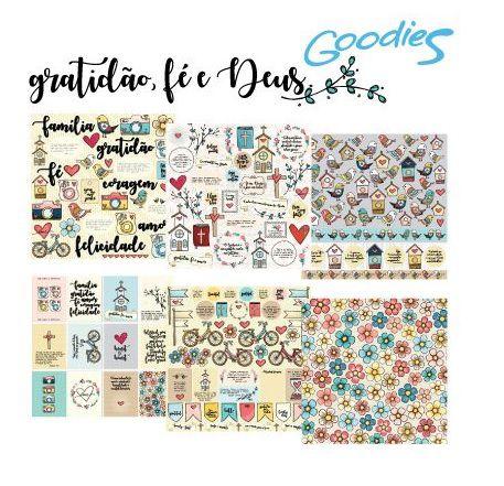 Kit com 6 papéis de scrapbook coleção Gratidão, Fé e Deus - Goodies