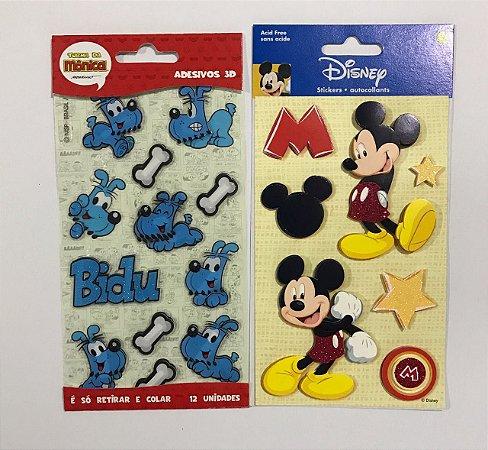 Kit de adesivos 3D Bidu e Mickey