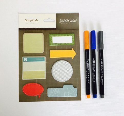 Kit Post-it Studio Calico e 03 canetinhas American Crafts