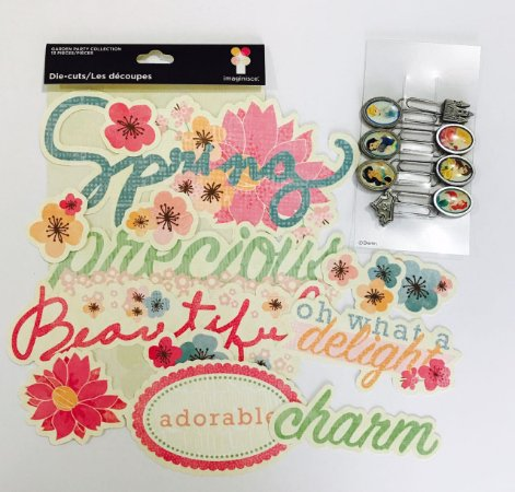 Kit com Die Cuts Garden Party e Clips Princesas Disney