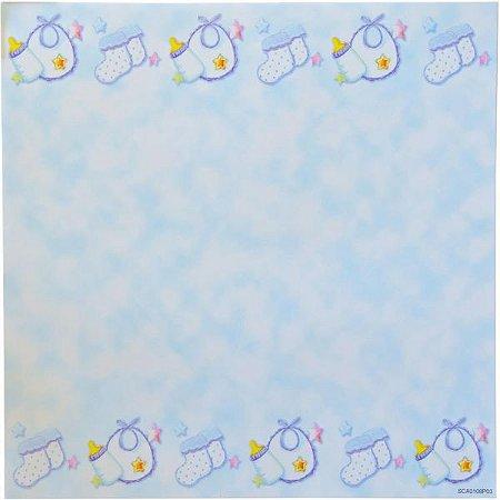 Kit Temático com 12 folhas face simples - Bebe Menino - TEC