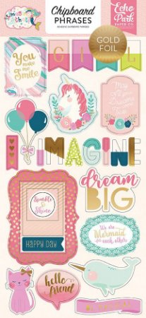 Adesivos chipboard - 15x30 cm com foil -  Imagine That Girl - Echo Park