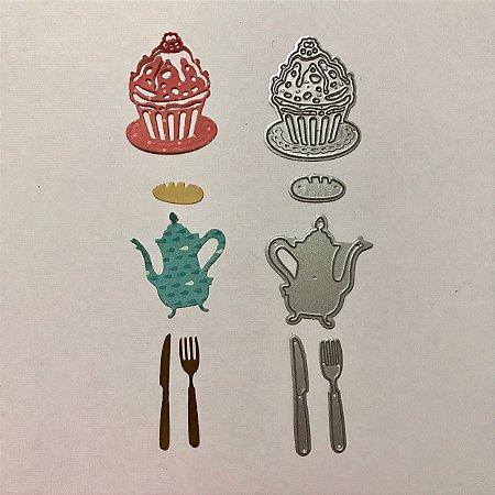 Kit de facas 5 peças Cupcake e Talheres - FAC046-B - Art e Montagem