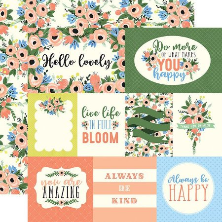 Papel Scrapbook - Flora n. 2 - Blossom Journaling Cards - Carta Bella