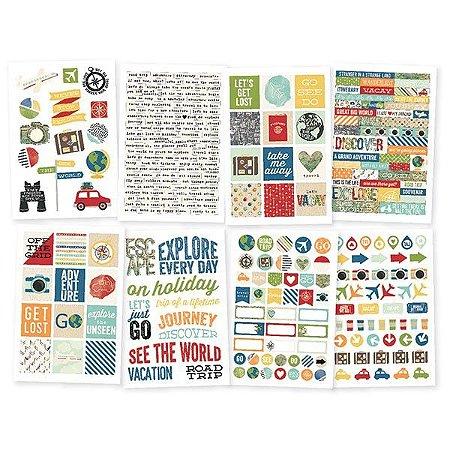 Adesivos 8 cartelas Viagem - Travel Notes - Simple Stories