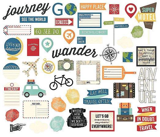 Die cuts (recortes de papel) Viagem - Travel Notes - Simple Stories