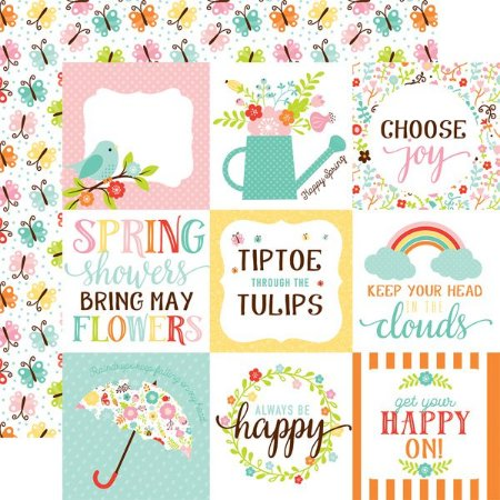 Papel Scrapbook - Hello Spring - 4x4 Journaling Cards - Echo Park