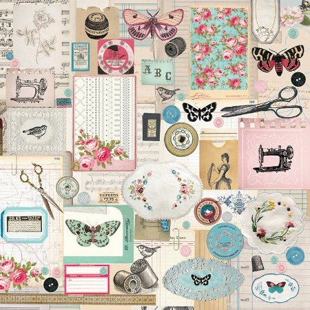 Papel Scrapbook - Vintage - Miss Betty- Thread - Costura - Kaisercraft