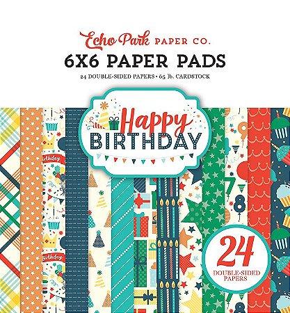 Bloco de papel scrapbook 15x15 Happy Birthday - Aniversário - Echo Park