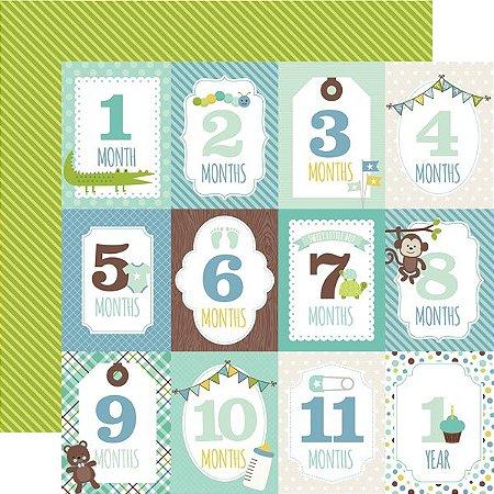 Papel scrapbook Bebê Menino - Sweet Baby Boy - Month Cards - Echo Park