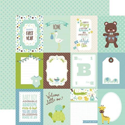 Papel scrapbook Bebê Menino - Sweet Baby Boy - 3x4 Journaling Cards - Echo Park