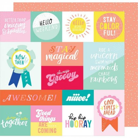 Papel Scrapbook - Dear Lizzy - Stay Colorful - Radical - American Crafts